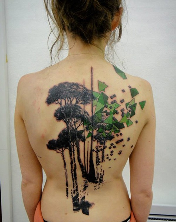 Girl Tree Back Tattoo