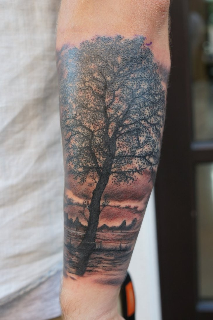 Tree Tattoo By Graynd Tattooimagesbiz Oak Tattoos Forearm