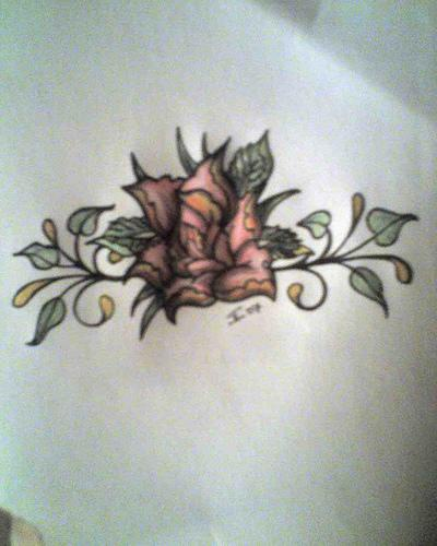 colored tree tattoo with beautiful flower. Black Bedroom Furniture Sets. Home Design Ideas