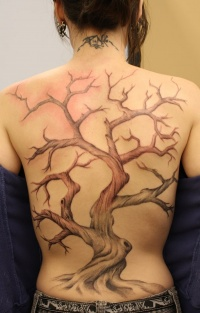 Black large tree tattoo