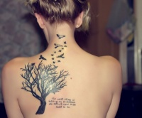 Black tree and birds tattoo on back